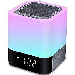 Hetyre lumière de nuit Haut-parleur Bluetooth, capteur tactile lampe de chevet lumière chaude et changement de couleur Réveil, lecteur MP3, USB, AUX, batterie de 4000 mAh Cadeau pour vos enfants