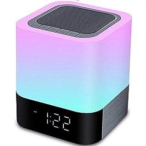 Hetyre Nachttisch Touchlampe, 5 in 1 LED Schreibtischlampe mit Bluetooth Lautsprecher 12/24H Digital Wecker 48 Farben&4000mAh
