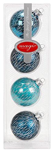 I. Christmas Decor Lot de 4 Boules de Noël Turquoise 6 cm
