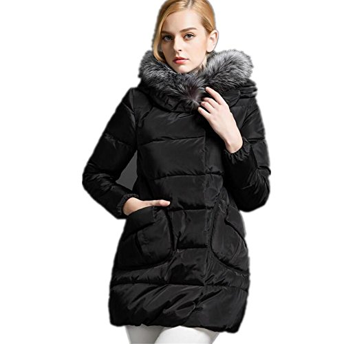 ZZHH collare della pelliccia di volpe delle donne giacca spessa verso il basso . black . l