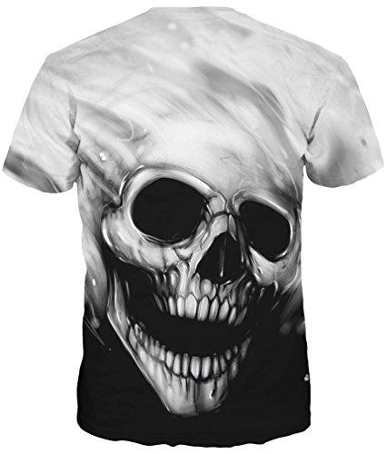 TDOLAH Herren Slim Fit 3D Farbspritzer Druck Muster T-Shirts Kurzarm Top Schwarz-Weiß-Schädel
