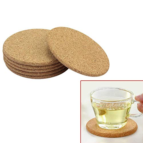 DYTJ-TOOLS 6 Stücke Runde Form Dia 91,28Mm Plain Cork Coasters Wein Trinken Kaffee Tee Tasse Matte Tisch Pad Für Home Office Dia-form