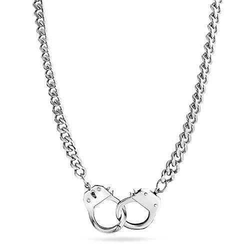 Bling Jewelry Geheimnis Farben poliert Handschellen Anhänger aus Edelstahl Halskette 22 Zoll