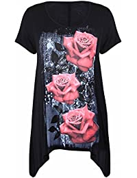 New Womens Plus Size Uneven Hanky Hem Short Sleeve T-Shirt Top Ladies Floral Rose Print Jersey Tunic