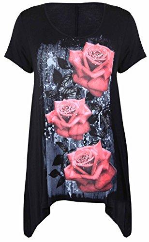Purple Hanger - Tunique Femme Ourlet Inégal Manche Courte Imprimé Floral Rose Jersey Grande Taille Neuf Noir