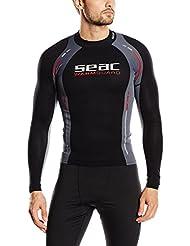 Seac WARM GUARD LONG - Neopreno de buceo de snorkel y surf para hombre, color negro, gris y rojo, tamaño L