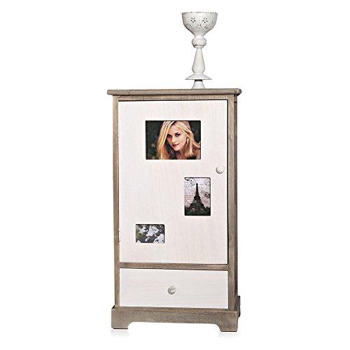 Melko® Kommode mit Fotohalter Bilderrahmen + Schublade, Shabby Chic weiß braun, 40x29x75 cm, Hochschrank Anrichte