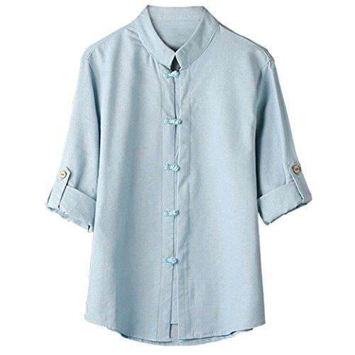MEIbax Herren Leinen Hemden Männer Klassischen Chinesischen Stil Kung Fu Shirt Tops Tang Anzug 3/4 Ärmel Leinen Bluse Langarmshirt