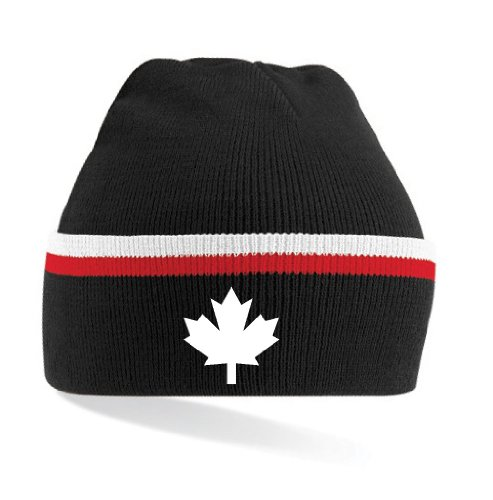 Canada/Kanada Strickmütze Teamwear|gestreift schwarz-weiss