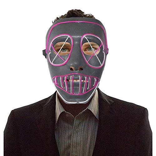 Karneval Haunted Kostüm - Concey Halloween LED Leuchten Maske Haunted House Lustige Glow Maske 4 Modi LED Kostüm Maske Horror Maske Für Halloween Kostüm Parteien Maskerade Karneval