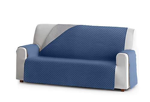 JM Textil Copridivano Salvadivano Elena, 2 posti, Protezione Imbottita per divani Reversibile. Colore Blu 03