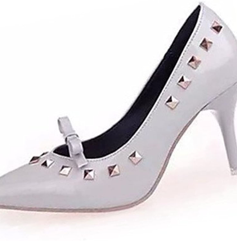ZQ Zapatos de mujer-Tac¨®n Stiletto-Tacones-Tacones-Casual-PU-Negro / Rojo / Gris , gray-us8 / eu39 / uk6 / cn39...