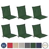 Beautissu 6er Set Loft NL Niedriglehner Auflagen Set dunkelgrün 100x50 cm Sitzkissen Gartenstuhlauflage Schaumkern-Füllung mit Oeko-Tex - UV Lichtecht
