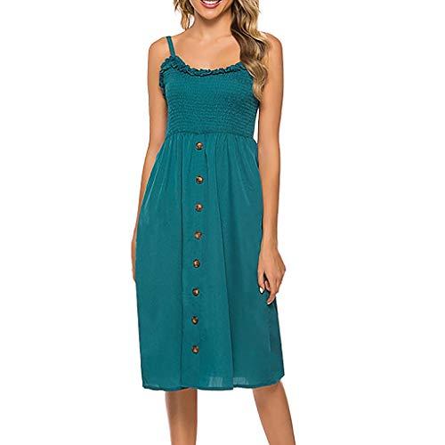 Yvelands Damen Tank Kleid Mode Sexy V-Ausschnitt Solid Color Sling Punkte Gabel ärmelloses Sommerkleid(Himmelblau,L)