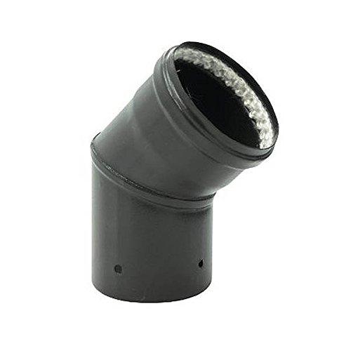 Coude 45° émail mat noir Diamètre 80mmpour poêles à Pellets avec Joint fibre - 342449