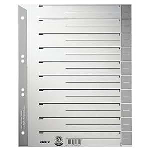 Leitz 16520085 Trennblatt, A4, Karton, farbig bedruckt, grau
