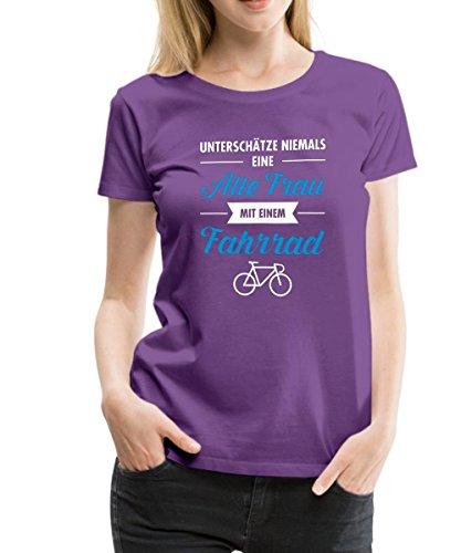 Spreadshirt Alte Frau mit Fahrrad Lustiger Spruch Frauen Premium T-Shirt, S, Lila (Fahrrad Lustig)