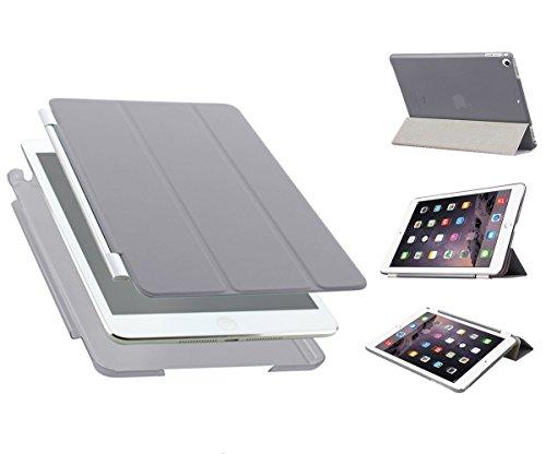 Luch iPad Mini 1 / 2 / 3 Hülle, Ultradünn Smart Cover Kunstleder Schutzhülle Tasche + Transparent Matt Back Hardcase mit Multiständer Schlaf/Wach Funktion für iPad mini 3 2 1, Hellgrau