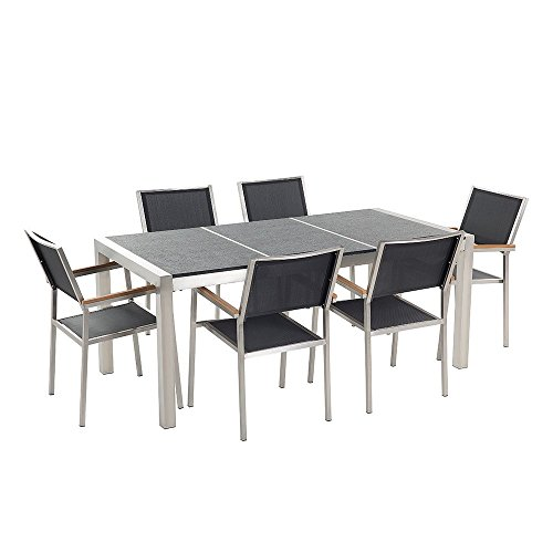 Beliani Gartenmöbel Set Naturstein Schwarz geflammt 180 x 90 cm 6-Sitzer Stühle Textilbespannung GROSSETO