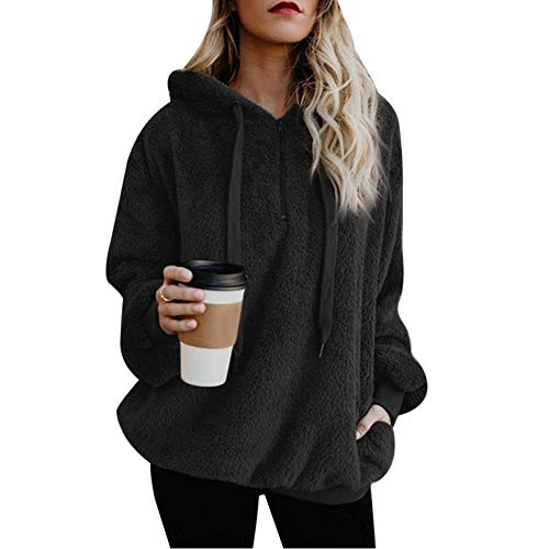 Vertvie Damen Hoodie Kapuzenpullover mit Kapuze und einfarbigen Pullovern Casual Winter Teddy-Fleece Langarm Oversize Sweatshirt Mantel Tops Mit Kapuze(A-Schwarz, S)