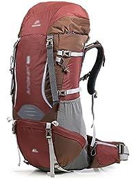 HWLXBB Al aire libre Mountaineering Bag hombro mochila hombres y mujeres caminando en la línea de Sichuan-Tibet Largo Capacidad Mochila 70L mochila ( Color : Rojo )