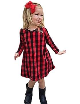 Saingace Kleinkind Kinder Baby Mädchen Plaid Print Kleid Outfits Kleider