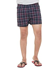 Twist Mens Checks 100% Cotton Boxers For A Breezy Winter (Sizes: S,M,L,XL,XXL) With Contrast & Free Shipping