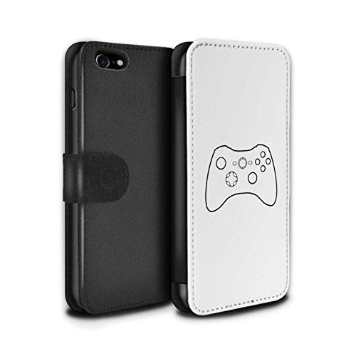 Stuff4 Coque/Etui/Housse Cuir PU Case/Cover pour Apple iPhone 8 / Pack 20pcs Design / Manette Jeux Vidéo Collection Xbox 360 Blanc