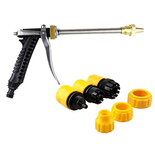 Pistola pulverizadora de agua de metal con chorro de alta presión RZDEAL con boquilla de pulverización y largo mango, con 3conectores para lavado de coche/moto, riego jardín/césped, limpieza de suelo, casa, cocina