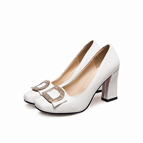 MissSaSa Donna Scarpe col Tacco Blocco Alto Elegante Bianco