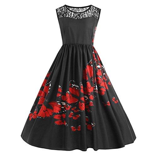 Huhu833 Vintage Retro 1950 Audrey Hepburn Plus Size Spitze Patchwork Schmetterling Print Party Abend Prom Swing Kleid (Schwarz, EU 54(Herstellergröße:5X-L)) (Plus Size Prom Kleider Unter 20)