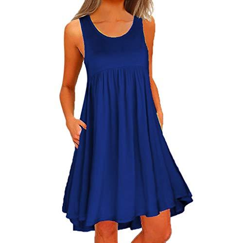 es Kleider Basic Casual A-Linie Skaterkleid Ärmellos Freizeitkleider Beiläufige Shirt Lose Rundhals ()