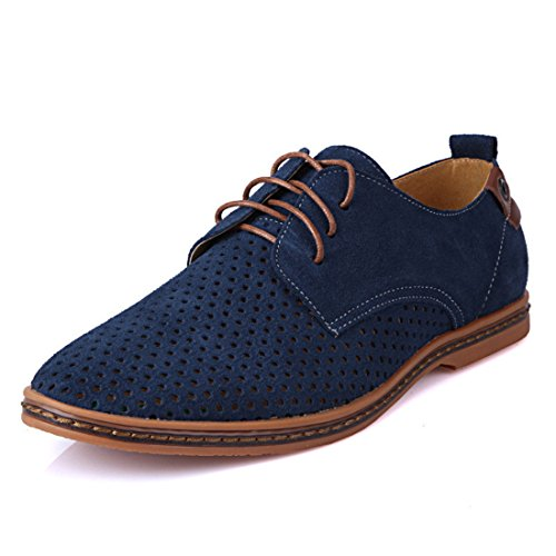 Men's Suede PU Leather Cut Outs Breathable Casual Shoes blue