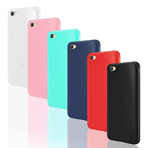 Leathlux 6X Funda Xiaomi Redmi Note 5A, 6 Unidades Carcasas [Sin Huella Dactilar] Juntas Silicona TPU Gel Protector Colores Cover para Xiaomi Redmi Note 5A - Blanco Rosa Verte Azul Rojo Negro