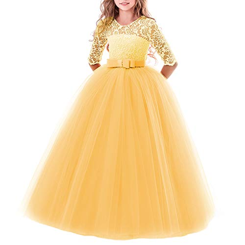 IBTOM CASTLE Elegant Brautjungfer Kleider für Mädchen Blumenmädchen Hochzeitskleid 3/4 Arm Spitzenkleid Tüllkleid Prinzessin Festzug Weihnachten Karneval Abendkleid Partykleid Gelb 13-14 Jahre (Für Kinder Armee-kleid)