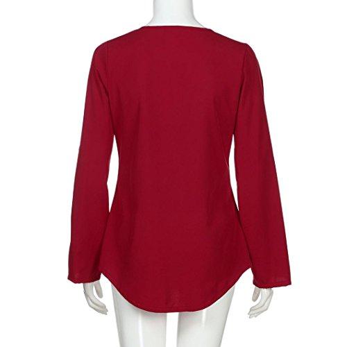 Bonjouree Chemisier Manche Longue Chemise Col V Mousseline de Soie Top Blouse Femme Fluide Tunique Haut Chic T-Shirt Rouge