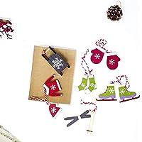 Erduo Navidad Traje de esquí Colgante árbol de Navidad de Madera Decorativa Etiqueta decoración de Navidad pequeña Caja de Madera Navidad Decoracion