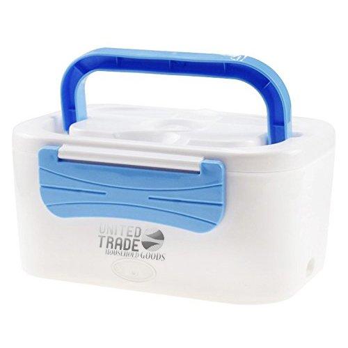United trade lunch box portavivande 1,25l scaldavivande estraibile 2 scomparti elettrico portatile 45w bianco/blu
