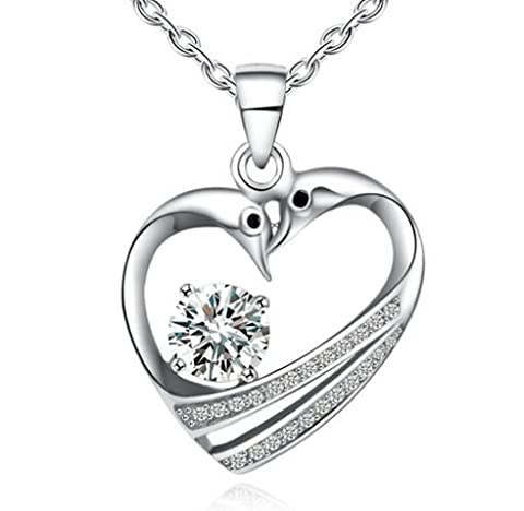 Hermosa 925 Sterling Silver Swan Love Heart Pendant Necklace with a Sparkling Cubic Zirconia Crystal - With 18 inch Silver Cable Chain in Gift Box - Ideal Valentine/Anniversary/Birthday