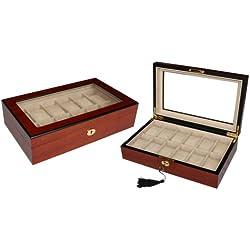 Edle Holz Uhrenvitrine Uhrenbox für 12 Uhren stabile Holzuhrenschatulle mit Echtglas