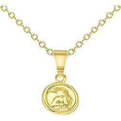 In Season Jewelry - Bébé - Pendentif Collier - Plaqué or 18k - Ange Guardien - Petit - Cadeau de Naissance