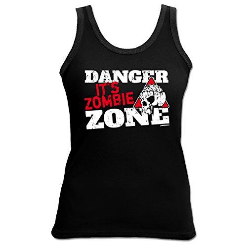 Halloween Zombie Zone 4 Girls Beach Tanktop Geschenk geil bedruckt Goodman Design ()