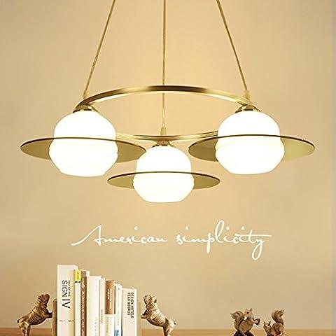 AllureFeng Lustre de restaurant moderne européen Simple Salon de salon créatif Plafonnier 3 têtes LED Round Hanging Lamp [Energy Efficiency Level A ++]
