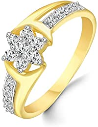 Classic Center Star Diamond Studded Gold Plated Alloy Cz American Diamond Finger Ring For Women & Girls [CJFR1263G]
