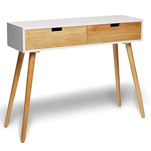 Consolle in legno bianco con cassetti, design scandinavo moderno, stile retrò, dimensioni: 100x 30x 80cm