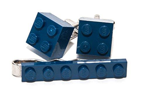 Dark Blue GENUINE LEGO Tie Clip & Cufflink Set - Funky Retro Cool Cuff Links Made by Jeff Jeffers