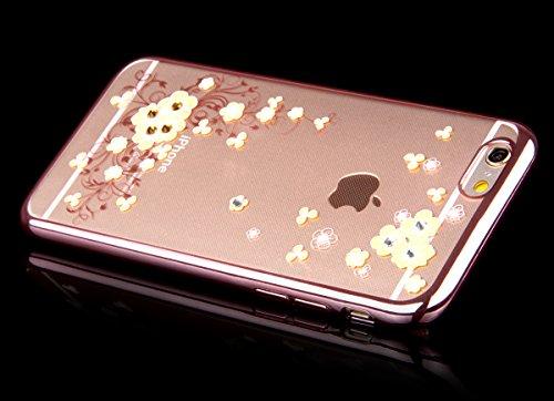 Apple iphone 6/6s (4.7 pouces) Coque en Soft Silicone TPU Transparent, Ekakashop Créatif Belle Conception de Série Fleur Flexible Souple Gel Housse Etui Cas de Protection pour iphone 6, Matériaux Galv Begonia fleurs jaunes
