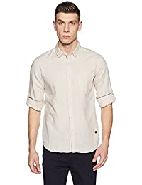 Symbol Amazon Brand Men's Casual Cotton Linen Slim Fit Shirt