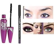 Kit Mascara Volum Express efecto Faux Cils Gemey Maybelline–negro + lápiz Waterproof Master Drama Khol Liner Ultra Violet (2productos)