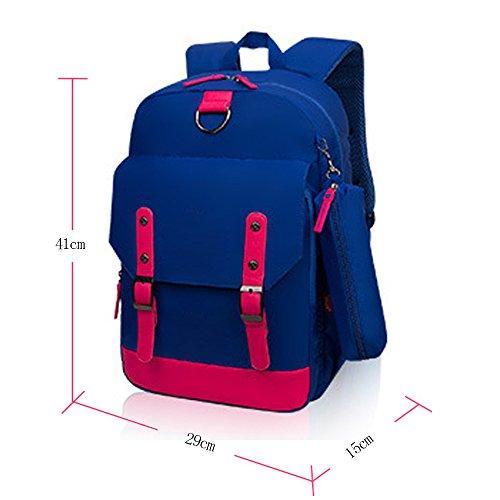 KINDOYO Wasserdichter Rucksack für Kinder Unisex Schultaschen Jungen Mädchen für Reisen, Wandern, Sport Seeblau / Rose